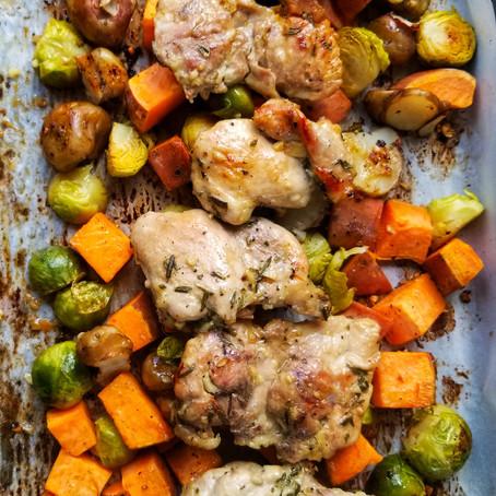 One Pan Honey Garlic Chicken with Sweet Potato and Veggies