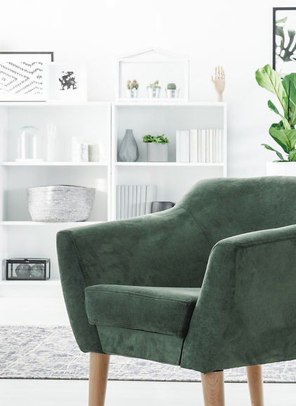 Organized green and white living room.jp