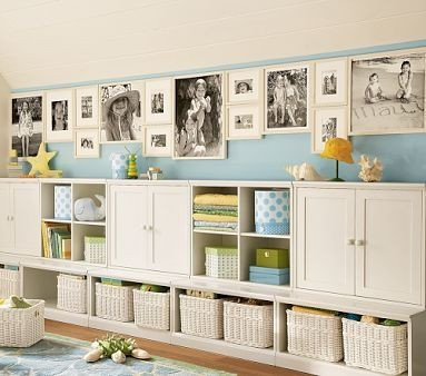 White storage unit with shelves and baskets