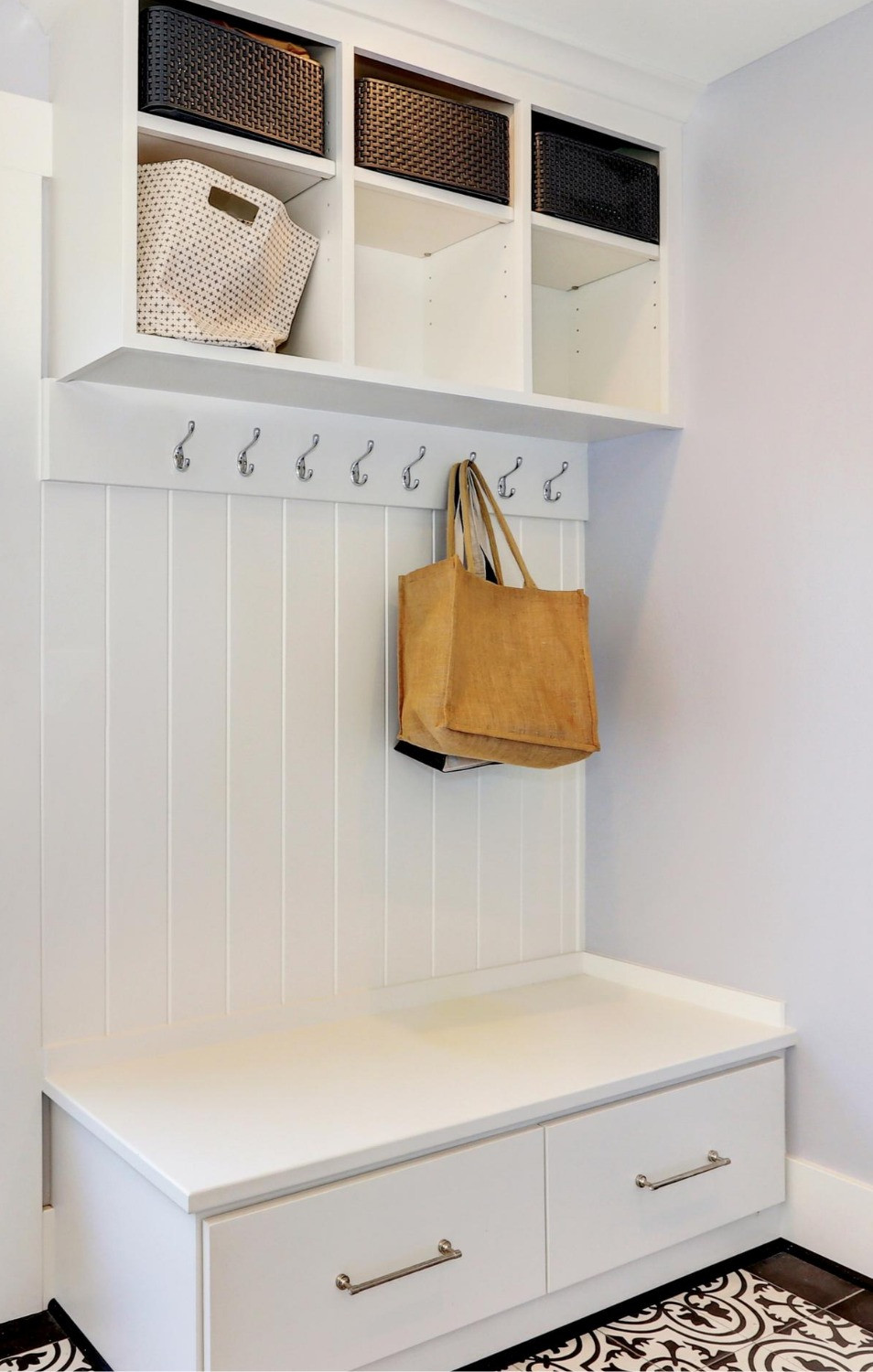 Storage Cabinet with Hooks and Baskets