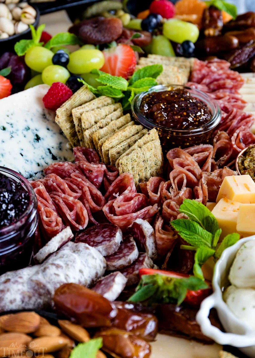 Meat, cheese and fruit platter