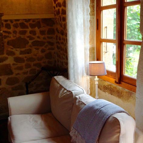 Huiskamer van de Cottage Charente