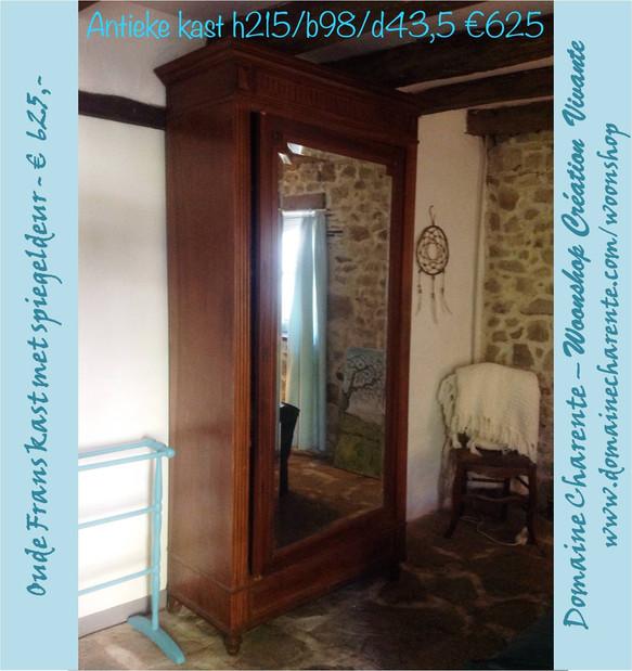 Mooie antieke kast met spiegeldeur