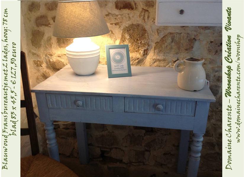Mooi oud Frans bureautje blauw