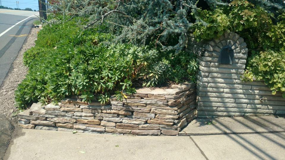 mason built retaining wall