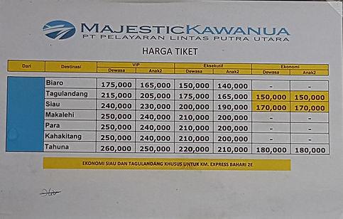 Majestic Kawanua price list Siau Manado limangu diving