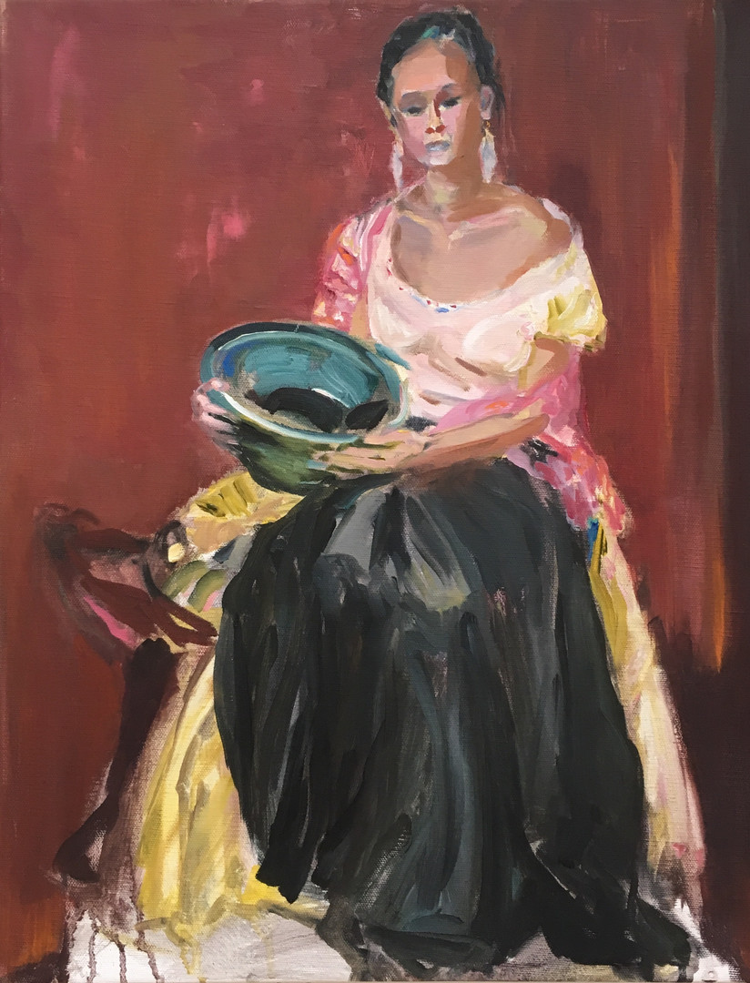 Woman with Blue Bowl