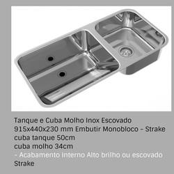 Tanque e Cuba Molho Inox Escovado 915x440x230 mm Embutir Monobloco - Strake