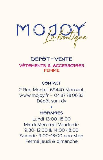 carte de visite mojoy la boutique - Vers