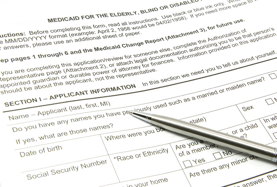 A Medicaid application ready to be fille