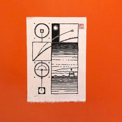 Emil Underbjerg . Mars:02 . 30 x 20 . Linoleumstryk .