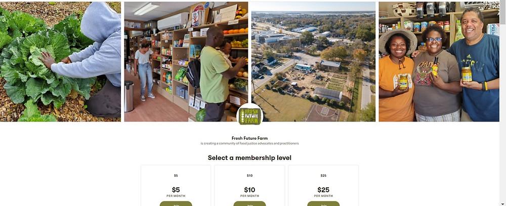 Screenshot of the Farm's Patreon homepage