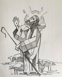 28 x 21 cms aprox / Tinta y grafito sobre papel / Ink and graphite on paper