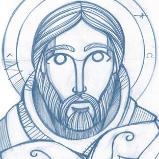 Dibujo de Jesús Buen Pastor / Jesus Christ Good Shepherd drawing
