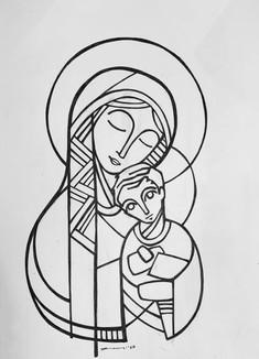 María y Niño Jesús ícono iknu