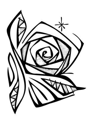 Rosa mística Maaría dibujo / Mystic rose Mary drawing