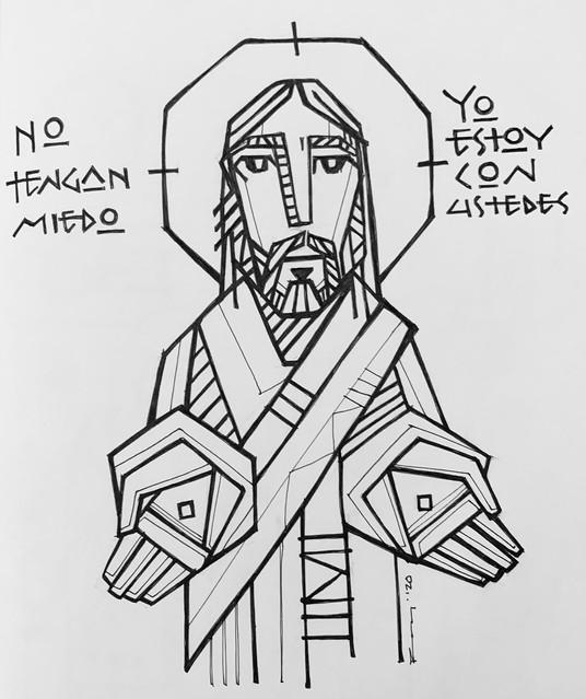 2020 Jesús manos abiertas tallado