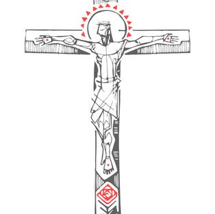 Jesús en la Cruz y símbolos dibujo / Jesus at the Cross and symbols drawing