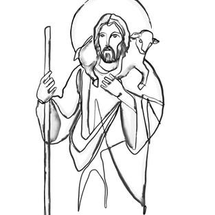 Jesus Buen Pastor acuarela / Jesus Good