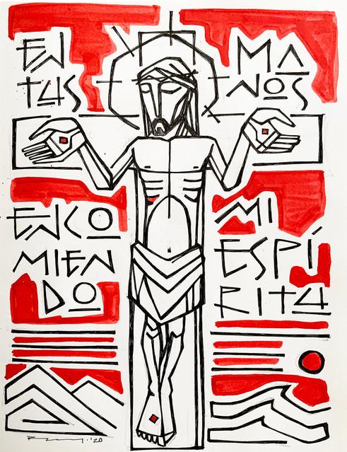 Cristo en la cruz en tus manos