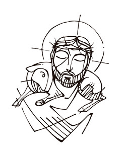 Jesús Buen Pastor dibujo / Jesus Good Shepherd drawing