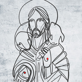Jesus Buen Pastor unilínea dibujo / Jesu