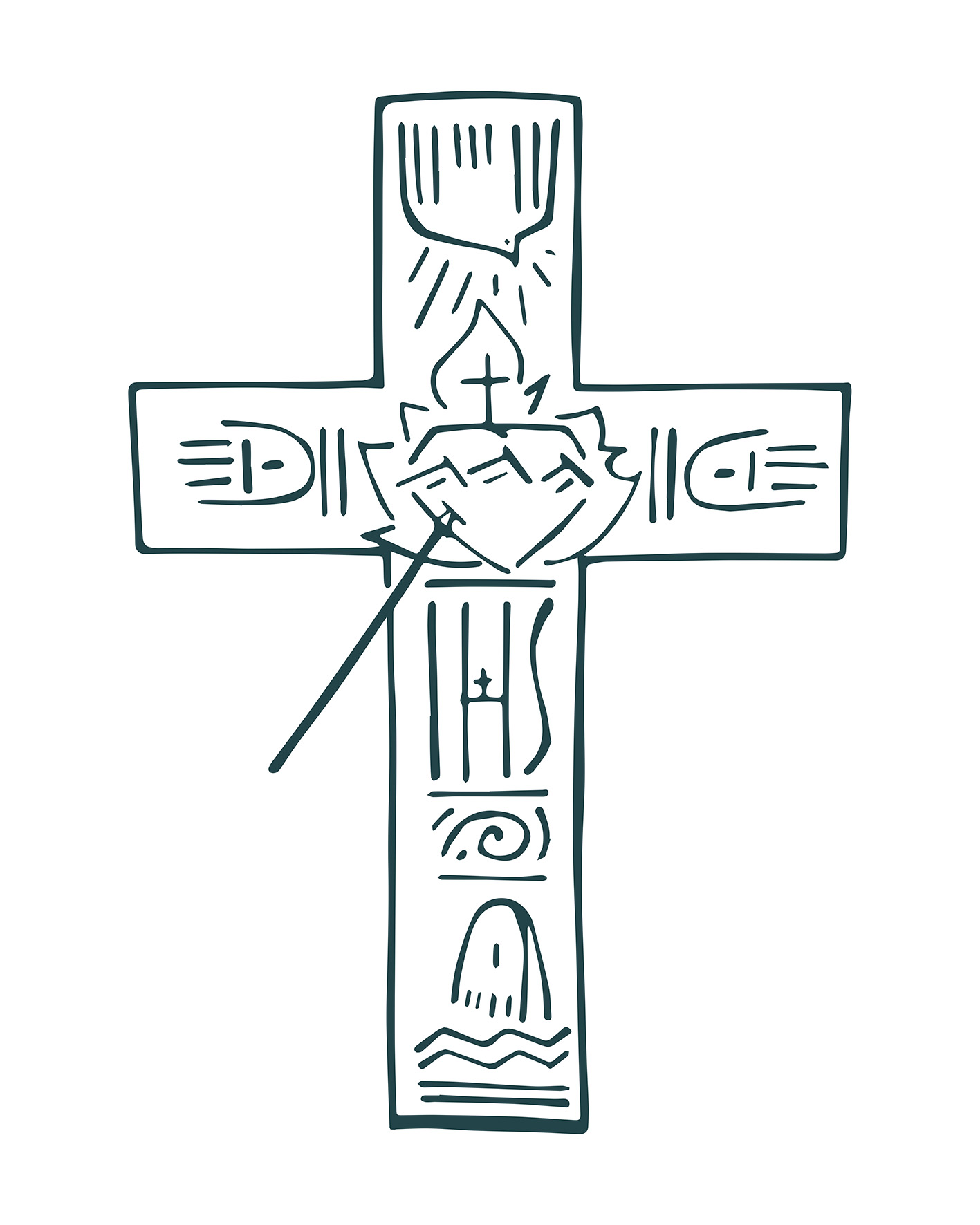 Cruz del Apostolado dibujo / Cross of the Apostolate drawing