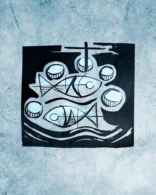 Cinco panes y dos peces ilustración / Five breads and two fish illustration