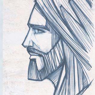 2018 Rostro de Cristo perfil lapiz textu