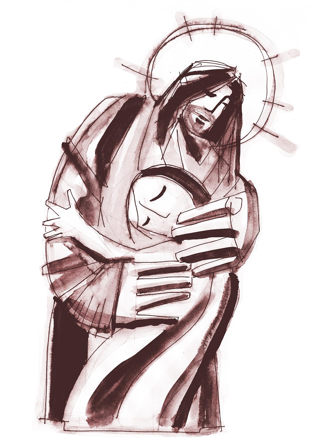 Jesús abrazo dibujo / Jesus hug drawing