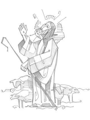 Jesús Buen Pastor dibujo / Jesus Good Shepherd drawing