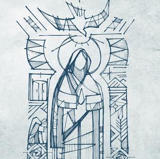 Virgen María y símbolos dibujo / Virgin Mary and symbols drawing