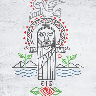 Jesús Resucitado y símbolos dibujo / Jesus Resurrection and symbols drawing