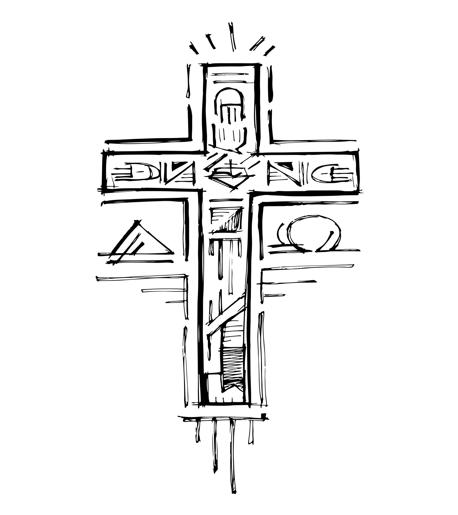 Cruz Alfa y Omega dibujo / Alpha y omega cross drawing