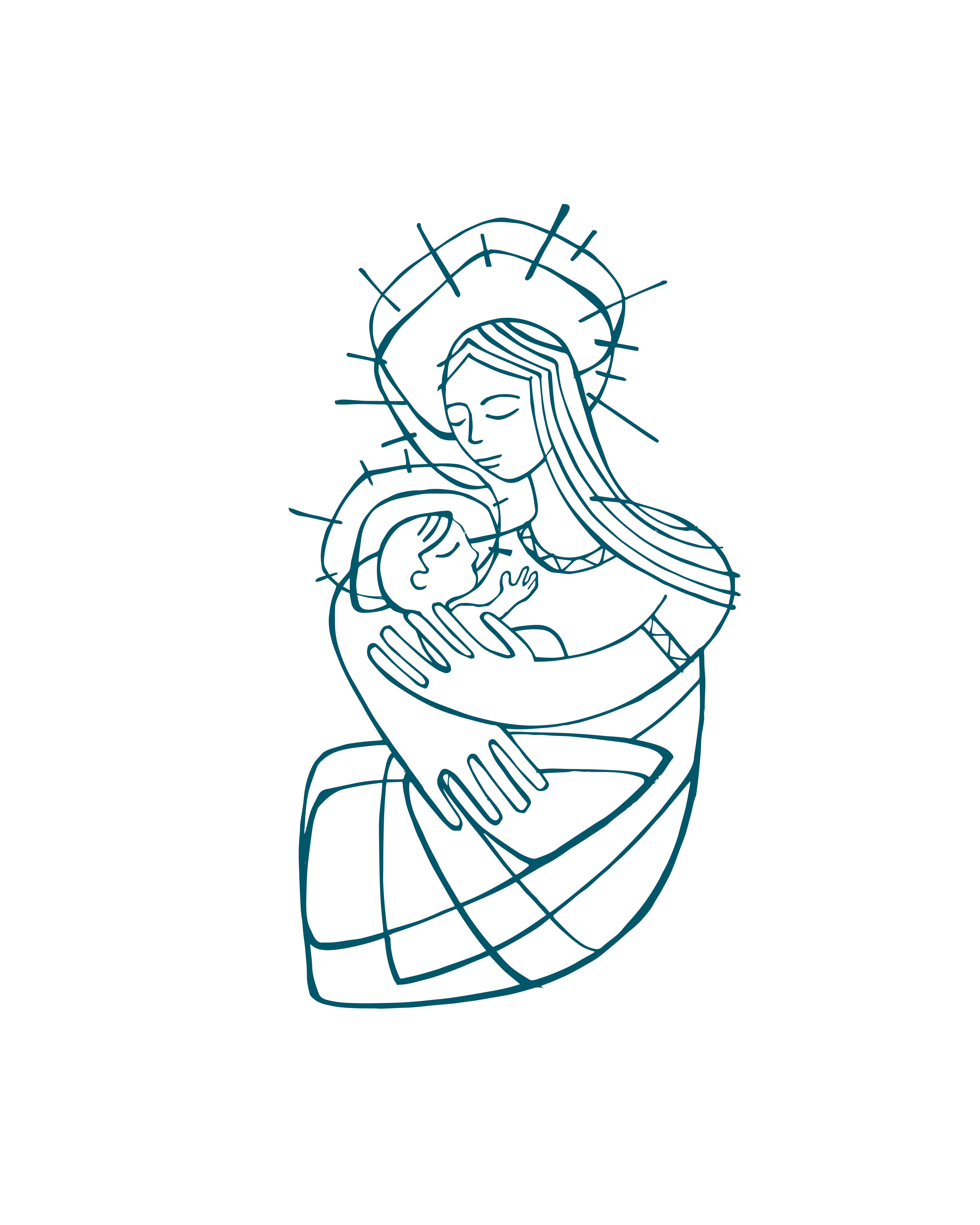 María Madre y Jesús dibujo / Mary Mother and Jesus drawing