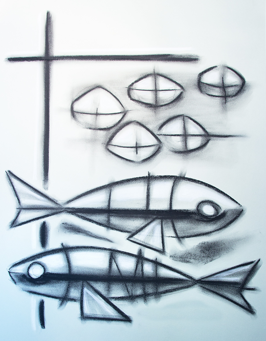 Cinco panes y dos peces dibujo / Five breads and two fish drawing