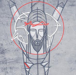 Buen Pastor en Cruz / Good Shepherd at Crucifixion art