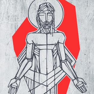 2020 Jesus apresado negro y rojo textura