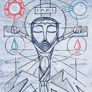 Jesús en la Cruz y símbolos / Jesus at the Cross and symbols