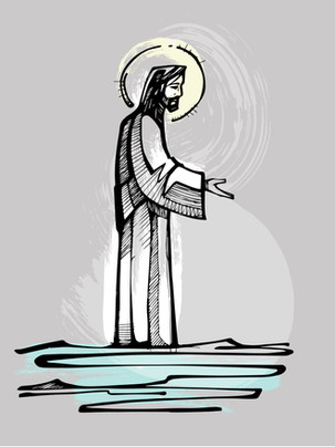 Jesús sobre las aguas dibujo / Jesus over the water drawing