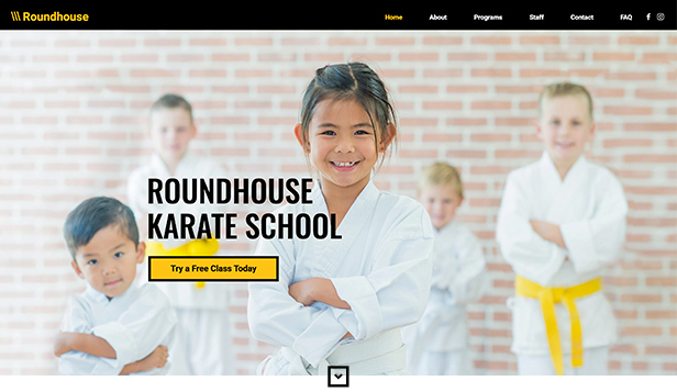 Samfunn og utdanning website templates – Karateskole for barn