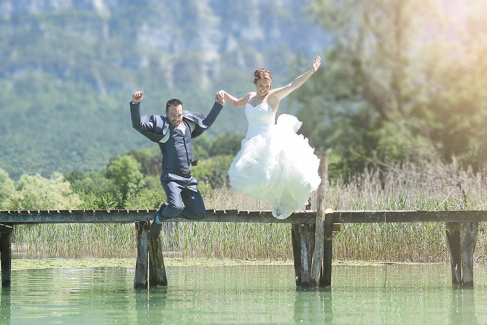Séance Trash the Dress au lac d'Aiguebelettte
