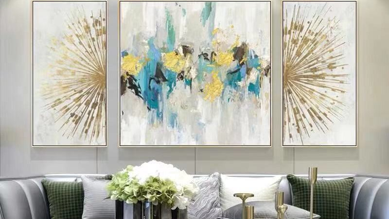 Unique Modular Abstract Composition In Formal Sitting Room