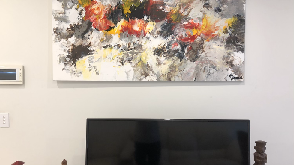 Abstract Composition Above Television Set