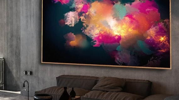 Oversized Living Room Abstract Colour Bteak Out