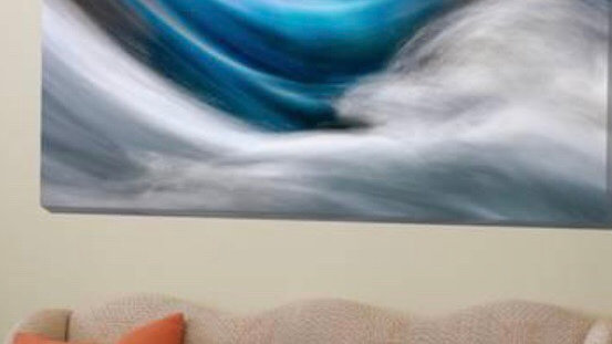 Abstract Blue Waves In Formal Entry Hall