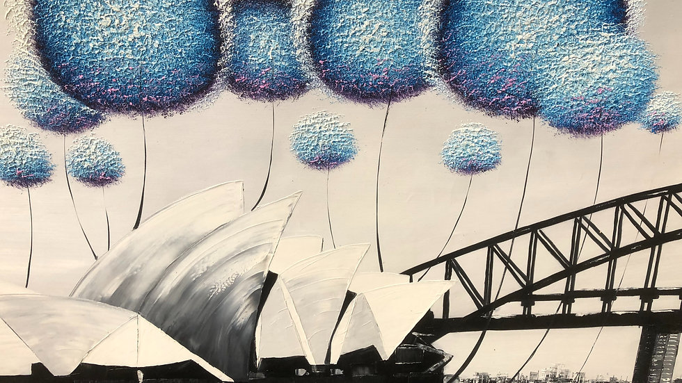 SYDNEY Opera House With Surrealistic Balloons 180 x 90 cm