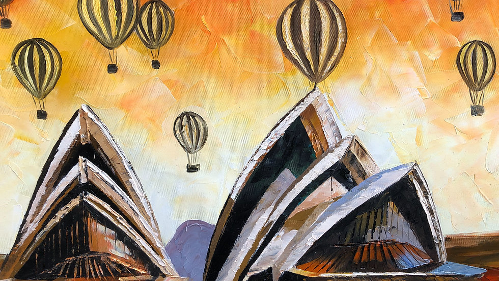 Sydney Operahouse With Surrealistic Balloons