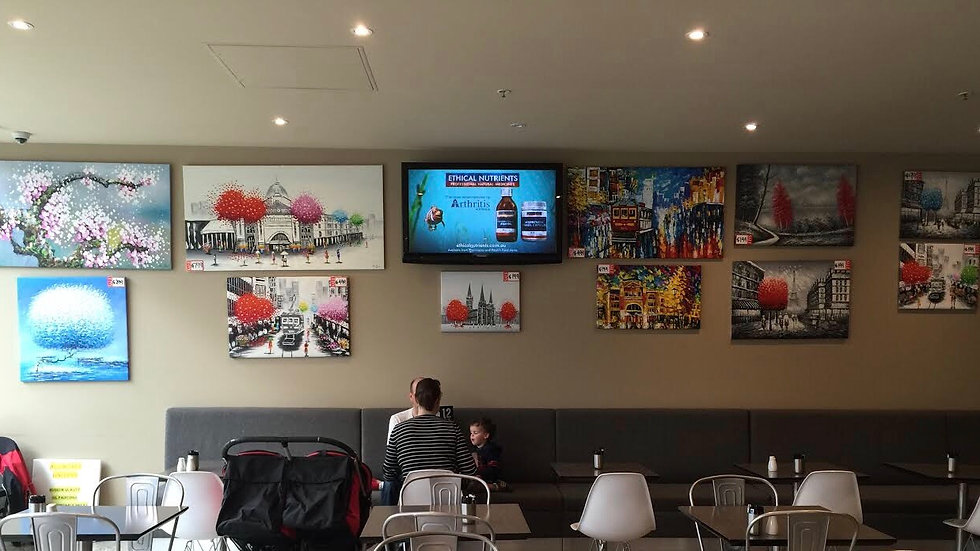 My Paintings In A Degani Cafe In Melbourne