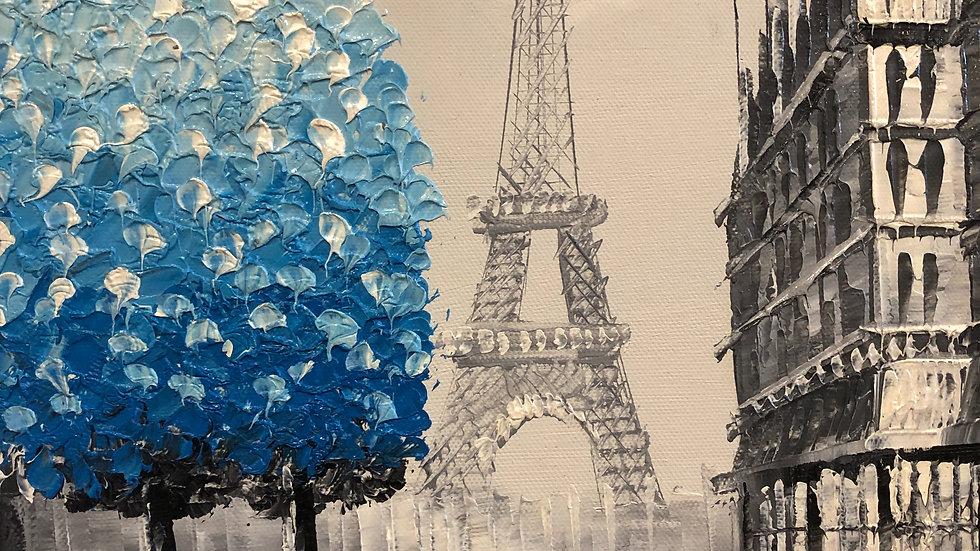 PARIS EIFEL Tower With 3D Blue Tree